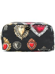 Dolce And Gabbana Sacred Heart Print Makeup Bag Black