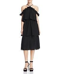 Re Named Tiered Ruffled Cold Shoulder Midi Dress 100 Exclusive Black