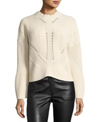 Isabel Marant Grifin Knit Lace Up Sweater Neutral Neutral Pattern