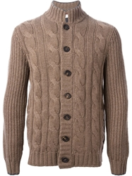 Brunello Cucinelli Cable Knit Ribbed Stand Up Collar Cardigan Brown