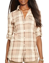 Lauren Ralph Lauren Petite Plaid Twill Button Front Top Brown