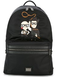 Dolce And Gabbana 'Vulcano' Western Designers Patch Backpack Black