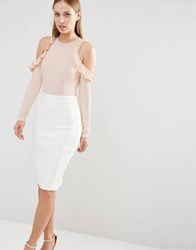Oh My Love Cold Shoulder Bodysuit With Frill Detail Nude Pink