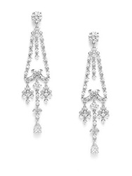Cz By Kenneth Jay Lane Deco White Stone Chandelier Earrings Silver