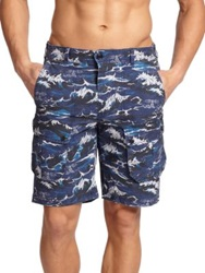 Barbour Wave Print Cotton Shorts Navy Multi