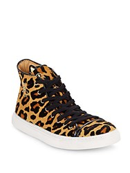Charlotte Olympia Purrrfect Leopard Print Calf Hair High Top Sneakers Multi
