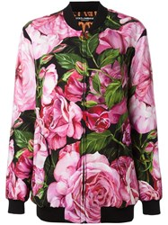 Dolce And Gabbana Rose Print Bomber Jacket Pink Purple