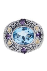 Phillip Gavriel 18K Yellow Gold And Oxidized Sterling Silver Blue Topaz And Pink Amethyst Ring Multi