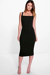 Boohoo Square Neck Open Back Midi Bodycon Dress Black