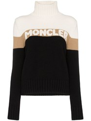 Moncler Roll Neck Logo Intarsia Sweater Black