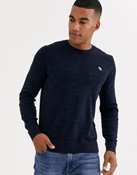 Abercrombie And Fitch Core Icon Logo Crew Neck Knit Jumper In Navy