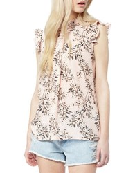 Miss Selfridge Floral Print Ruffled Sleeveless Top