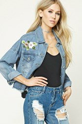Forever 21 Floral Patch Denim Jacket Light Blue