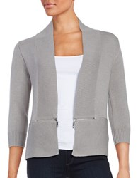 Ivanka Trump Zip Accented Knit Cardigan Heather Stone