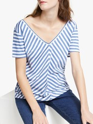 John Lewis Collection Weekend By V Front And Back Stripe T Shirt Blue White