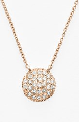 Women's Dana Rebecca Designs 'Lauren Joy' Diamond Disc Pendant Necklace Rose Gold