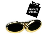 Forzieri Classic Gold Plated Cuff Links Black