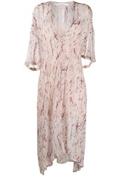 Iro Abstract Print Chiffon Dress Pink