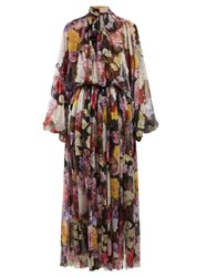 Dolce And Gabbana Gathered Floral Print Georgette Gown Black Multi