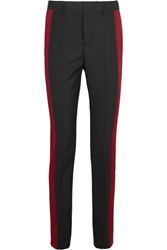 Haider Ackermann Satin Paneled Wool Crepe Tapered Pants Black