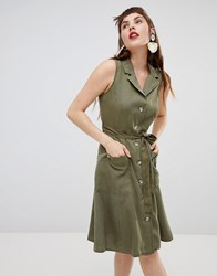 Mango Sleeveless Shirt Dress In Khaki Green