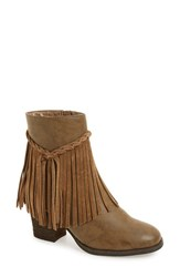 Sbicca Women's 'Geneen' Fringe Bootie Taupe Faux Leather