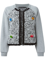 Moschino Tweed Panel Cardigan Grey