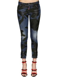 Dsquared Runway Straight Cropped Denim Jeans Blue