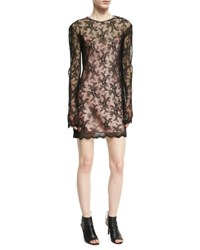 Alexander Wang Long Sleeve Pleated Lace Dress Onyx