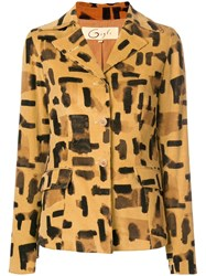 Romeo Gigli Vintage Brush Stroke Print Jacket Nude And Neutrals