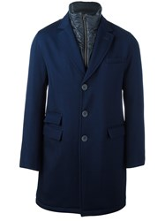 Herno Internal Layer Overcoat Blue