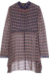 Anna Sui Lace Trimmed Floral Print Silk Georgette Blouse Navy