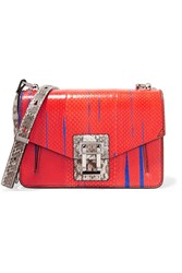 Proenza Schouler Hava Paneled Printed Ayers And Elaphe Shoulder Bag Tomato Red