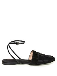 Marco De Vincenzo Woven Satin Flat Sandals Black