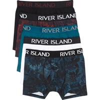 River Island Dark Red Floral Print Trunks Multipack