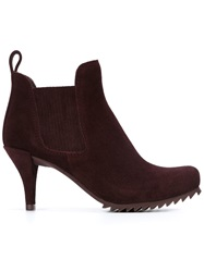 Pedro Garcia Elasticated Panel Ankle Boots Red