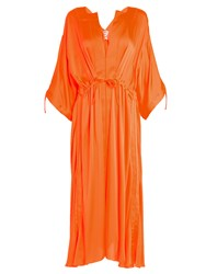 Maison Rabih Kayrouz Tie Waist Charmeuse Dress Orange