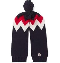 Moncler Tricot Intarsia Wool And Cashmere Blend Scarf Navy