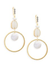Alanna Bess Sterling Silver White Baroque Freshwater Pearl And White Topaz Drop Earrings Gold