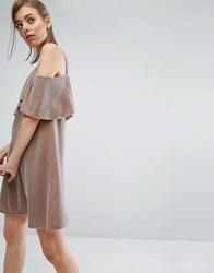 Asos Double Layer Velvet Mini Dress With Cold Shoulder Detail Mink Brown