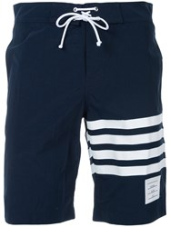 Thom Browne Classic Board Short With 4 Bar University Stripes Polyamide Blue