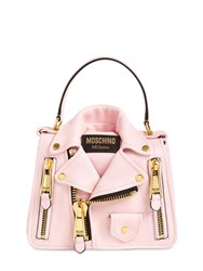 Moschino Biker Leather Top Handle Bag Pink