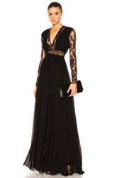 Zuhair Murad Georgette And Lace V Neck Gown In Black