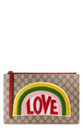 Gucci Embroidered Love Patch Gg Supreme Zip Pouch Beige Beige Ebony Red Multi