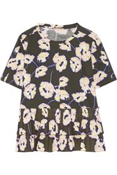 Marni Floral Print Poplin Trimmed Cotton Jersey Top Army Green