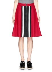 Cynthia And Xiao Contrast Stripe Wool Blend Felt Flare Skirt Red