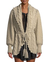 Loveshackfancy Owen Shawl Collar Alpaca Cable Knit Cardigan Sweater Beige