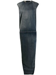 Rick Owens Side Slit Maxi Dress Blue