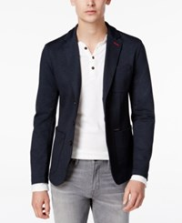 Guess Men's Navy Blazer Blue Denim Knit Print