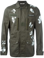 Valentino Butterfly And Floral Print Military Jacket Green
